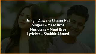 Aawara Shaam Hai (LYRICAL) - Ft. Manjul khattar and Rits Badiani | Meet bros entertainment