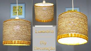 Luminária Pendente feita com Corda de Sisal
