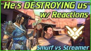 "Undercover Smurf vs Overwatch Streamers w/ Reactions #2! ""He's DESTROYING!"" (Samito)"