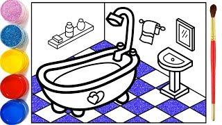 Vẽ phòng tắm 3D đơn giản và tô màu cho bé | Dạy bé vẽ | Dạy bé tô màu | Kamar Mandi Halaman Mewarnai