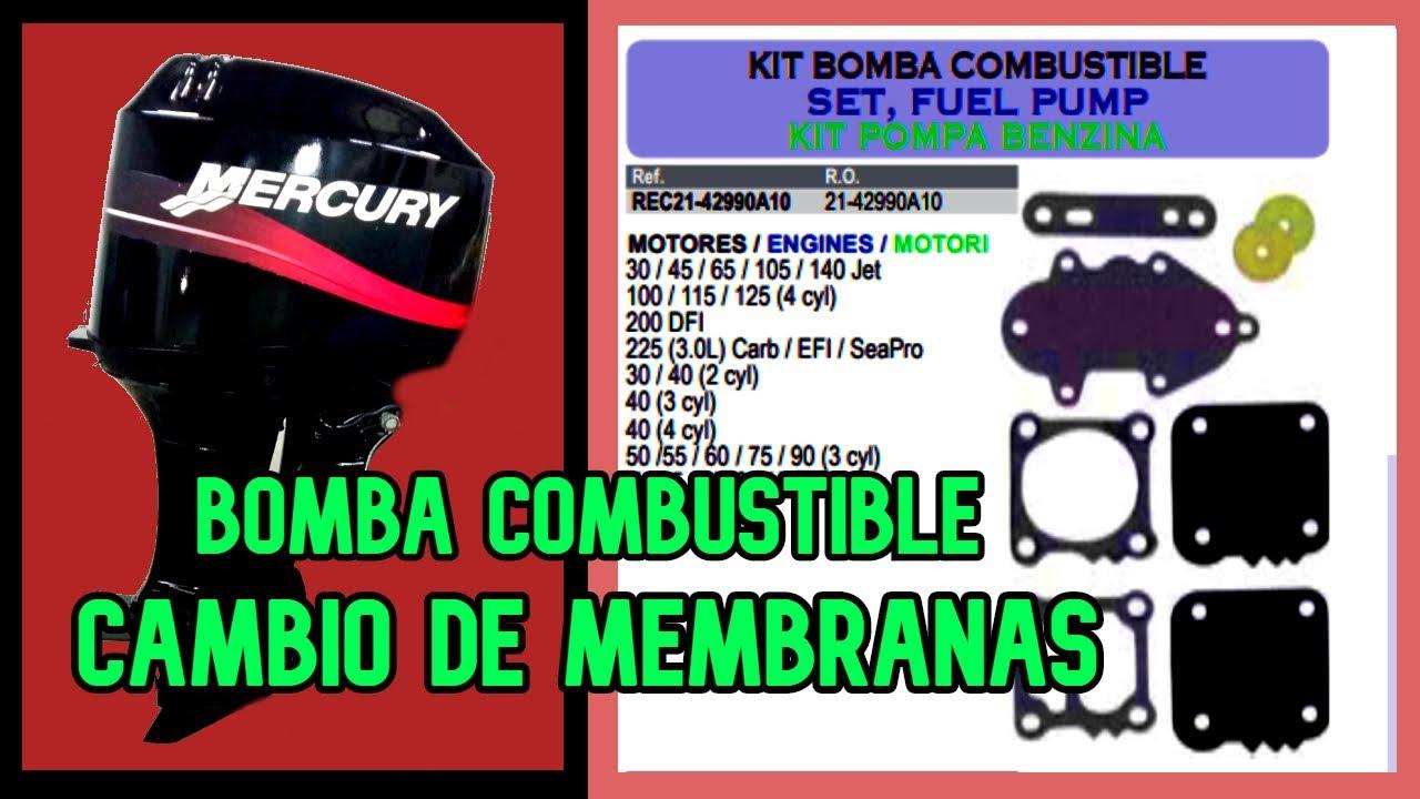 🔧Cambio de MEMBRANAS BOMBA COMBUSTIBLE MERCURY 50 | Change of MERCURY FUEL PUMP MEMBRANES