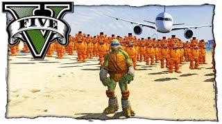 GTA 5 МОДЫ: ЧЕРЕПАШКИ НИНДЗЯ СБИВАЮТ ФРЕДДИ НА САМОЛЕТЕ! ВИДЕО ОБЗОР МОДА ИГРЫ ГТА 5 MODS