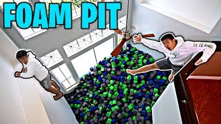 FILLING Mansion with TRAMPOLINE PARK FOAM CUBES!