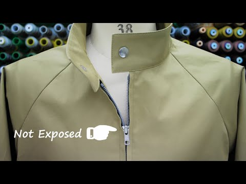 How to sew Separating Zipper (not exposed) Raglan sleeve Jacket オープンファスナーの縫い方(ムシ隠し)ラグラン袖ブルゾン