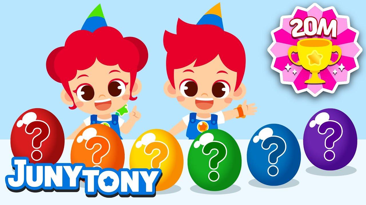 🍭🍬🧁🍡Comiendo Dulces Coloridos   Canción de Sonido   Huevos de Sorpresa   Juny Tony en español