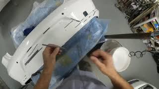 VW Passat 2014г - устраняем разрывы и деформации на заднем бампере.