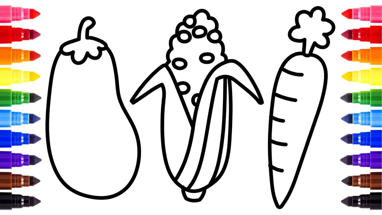 How to draw Vegetables for Baby   Coloring book and ...
