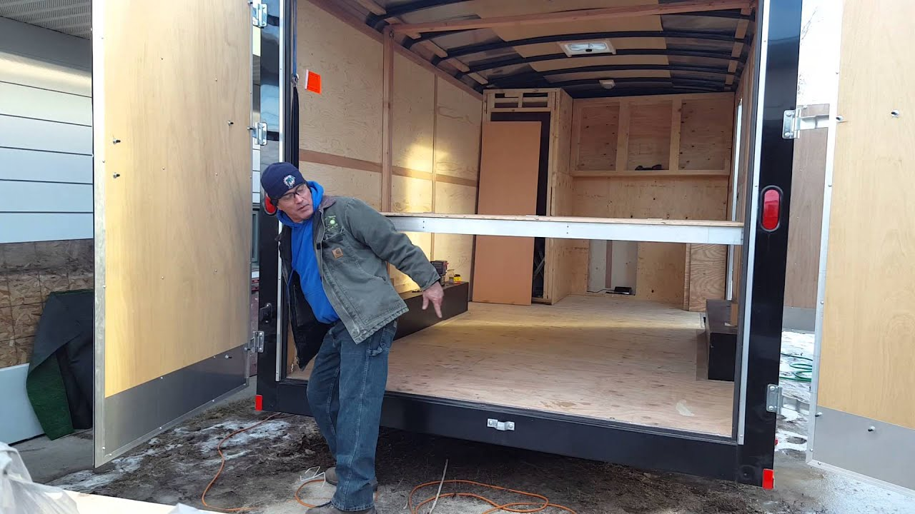 Ceiling bed for a enclosed trailer remodel - YouTube
