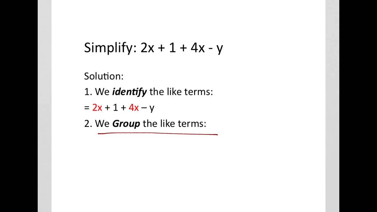 How To Simplify Algebraic Expressions Addition And
