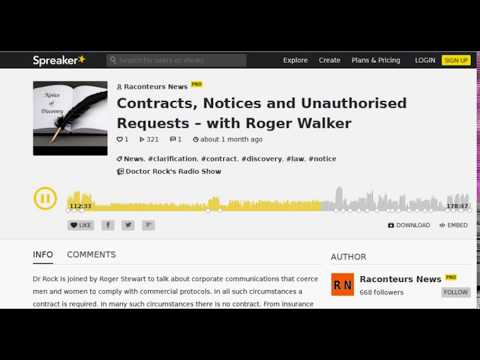 Dr Rock interviews Roger Walker with regard the LAW