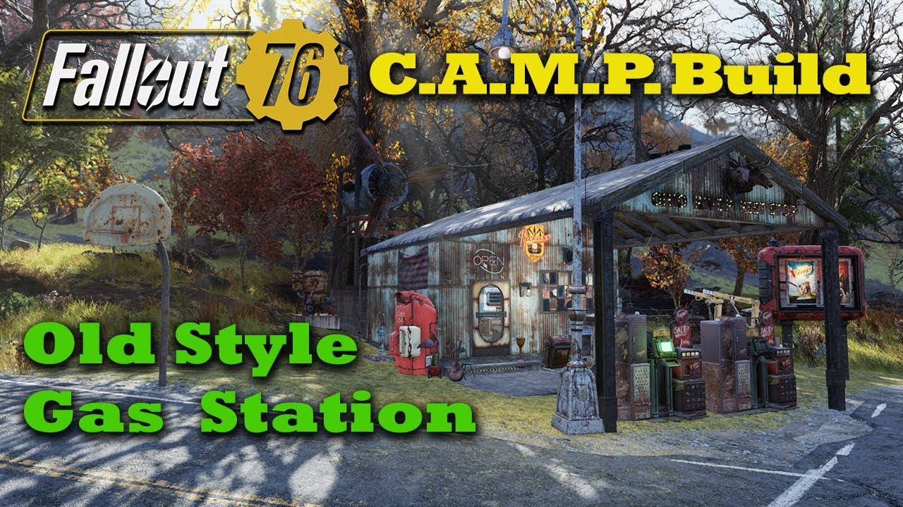 Fallout 76 C A M P  Build - Old Style Gas Station - New