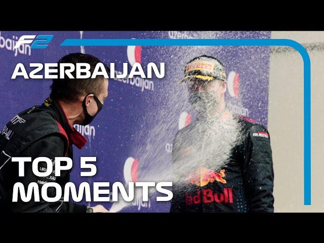 Top 5 Formula 2 Moments   2021 Azerbaijan Grand Prix