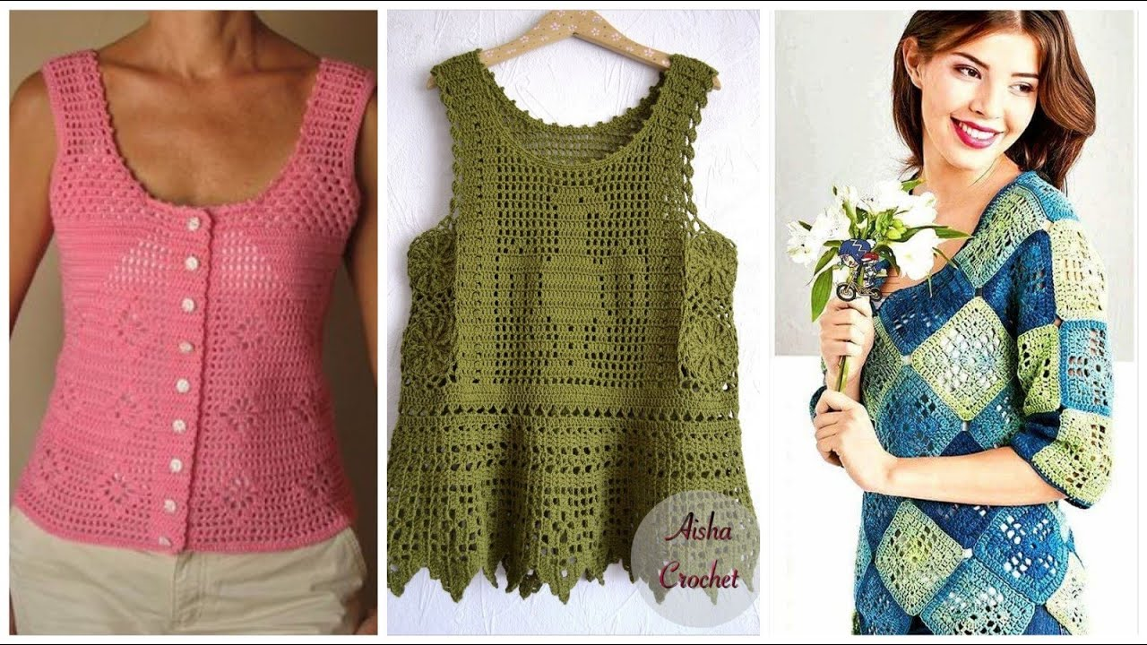 Trending crochet blouse with new colourful patterns