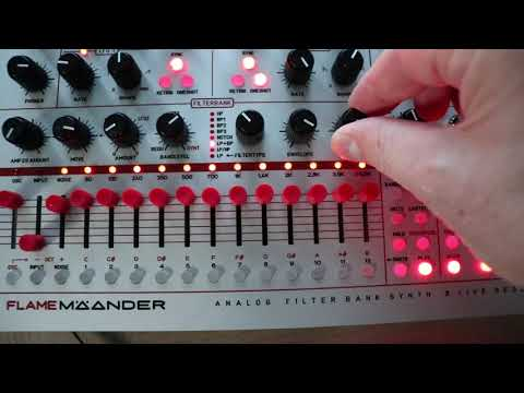 Flame MÄANDER Synthesizer dark slow arpeggio with white noise (beta test)