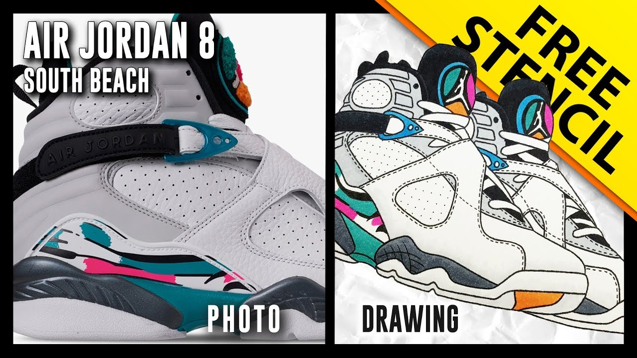 sports shoes 777e1 975a7 ... buy air jordan 8 south beach sneaker drawing w free stencil 52799 6f8da