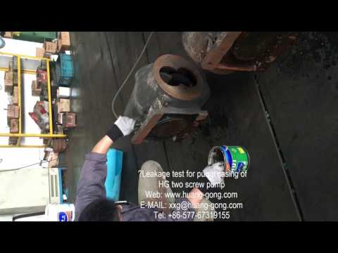 pump casing leakeage test of Huanggong HG Machinery Group two screw pump