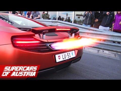 2x McLaren MP4-12C shooting HUGE FLAMES!