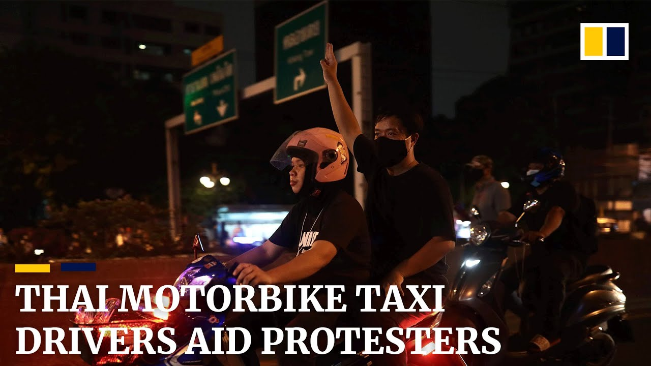 Bangkok's motorbike taxi drivers bring Thai protesters to demonstrations