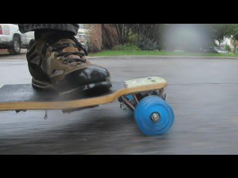 Shark wheel rain test youtube for Shark tank motorized skates