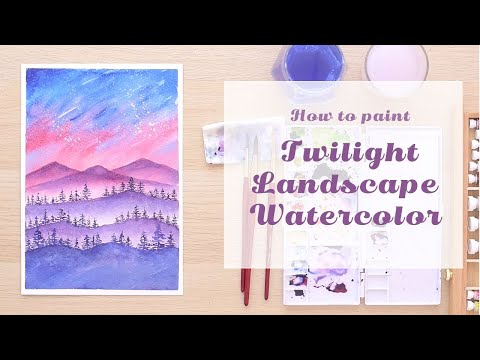 Easy Watercolor Painting Tutorial | Twilight Landscape