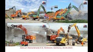[MEGA Brückenabbruch] A6 Heilbronn: CAT 352F, HITACHI 690, LIEBHERR R 946,..., Germany, 20.06.2019.