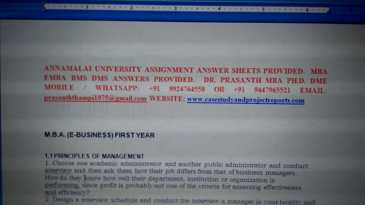 annamalai mba hrm 2nd year assignment Annamalai university directorate of distance education mba (human resource management) second year academic year 2016 - 2017 assignment topics this.