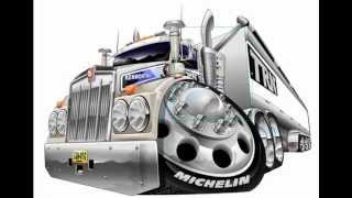 Cartoon caricature of a Kenworth truck being colored, vector