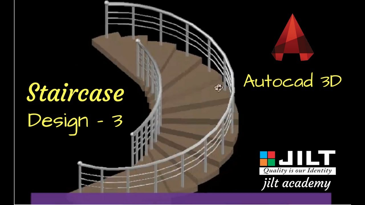 Stairscase design in AutoCAD 3D - Curved shaped (with commands)