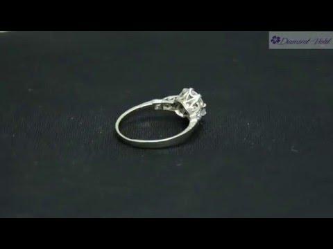 GIA 1 52CT Antique Vintage Old Diamond Engagement Wedding Ring Platinum