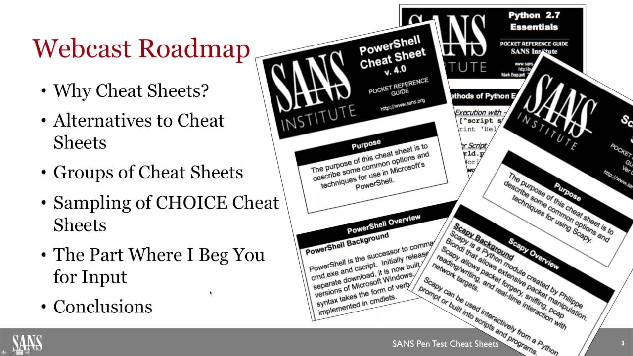 Sans webcast navigating sans pen test cheat sheets for fun and sans webcast navigating sans pen test cheat sheets for fun and profit malvernweather Gallery