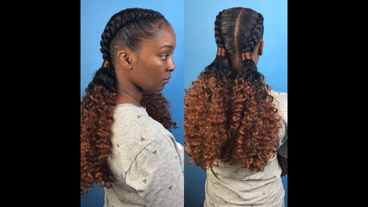 Two feed in braids with curly ponytails - YouTube