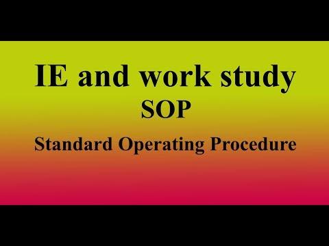 SOP(standard Operating Procedure) of industrial engineering department