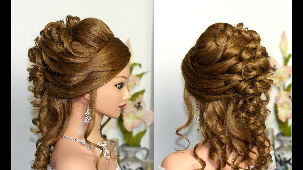 Curly wedding prom hairstyle for long hair
