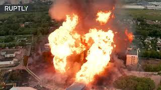 Пожар на ТЭЦ в Мытищах съёмка с дрона