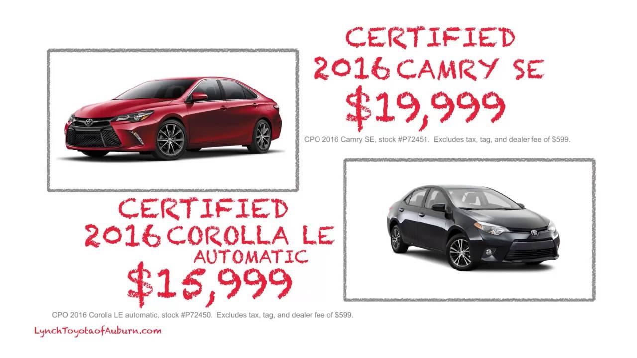 Lynch Toyota Auburn >> 2016 Camry Corolla Specials Lynch Toyota Of Auburn
