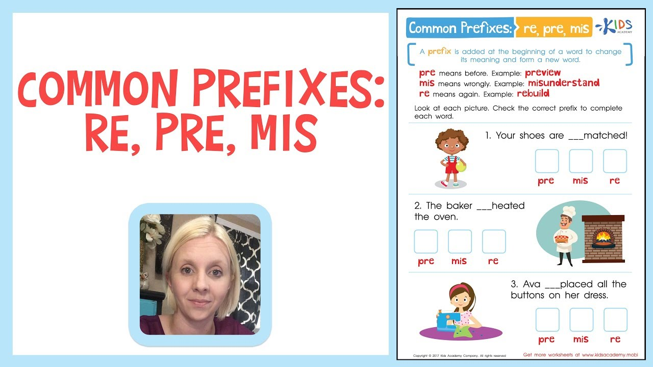Common Prefixes: RE, PRE, MIS - Building Vocabulary   Kids Academy