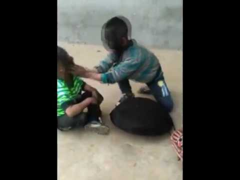 child playing rock, paper, scissor.