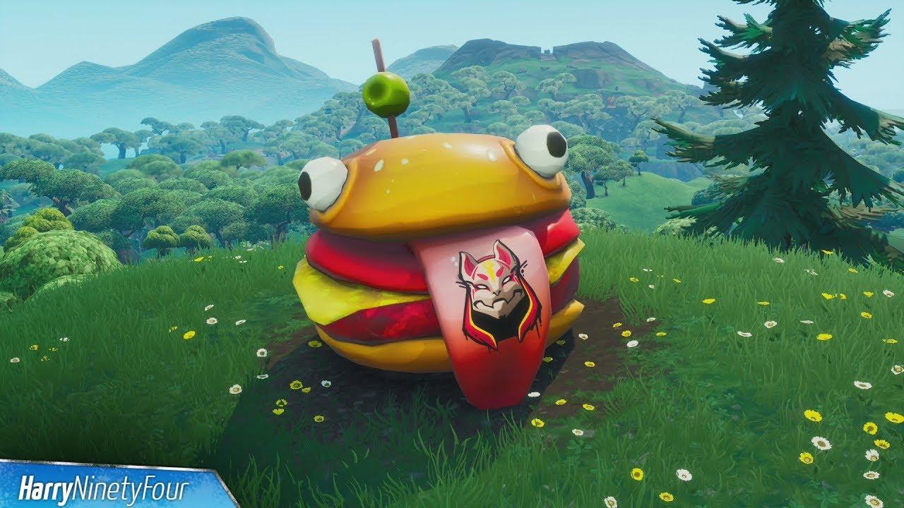 Visit Drift Painted Durrr Burger Head, Dinosaur and Stone Head Statue - Fortnite (Road Trip Mission) #1