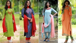 Latest Simple and Stylish Churidar designs    Beautiful Linen Cotton Churidar Collection For Summer