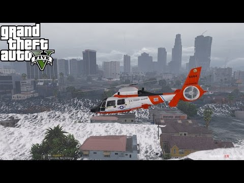 GTA 5 | Rescue Mod V Day 19 |  United States Coast Guard | Flash Flood Destroys Los Santos
