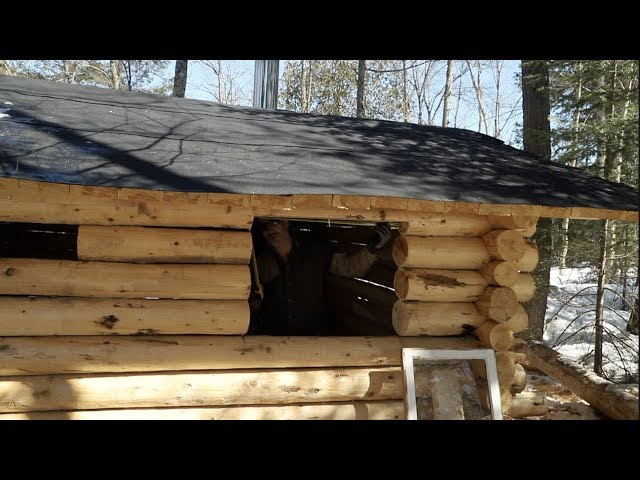 Building a Cedar Sauna in the Forest using hand tools, Ep 23: Windows and Walls