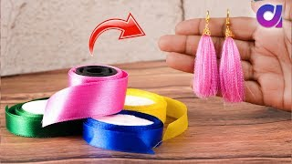 How to Make Tassel Earring From Satin Ribbon | Satin ribbon Craft | Artkala