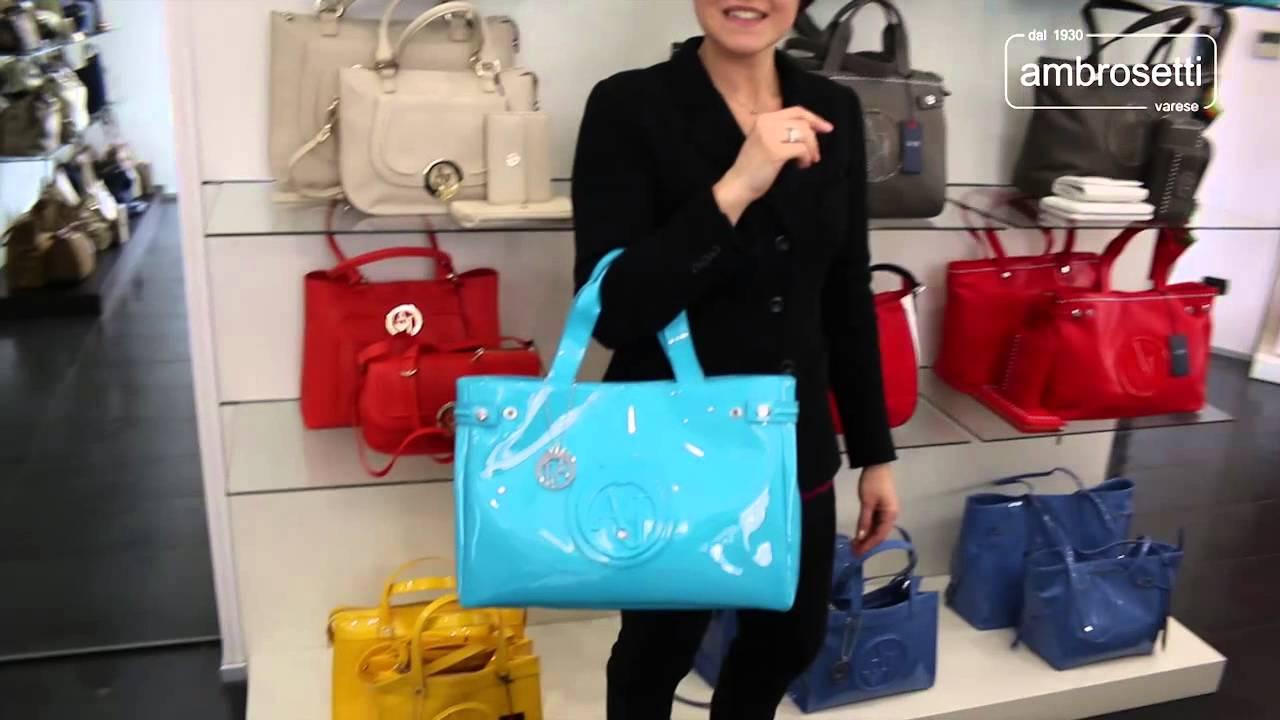 first rate 0cc8f 452ec Video handbag in vernice Armani Jeans By Giorgio Armani