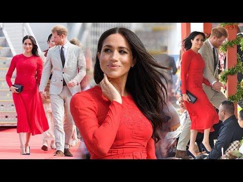 Duchess Meghan's bold & beautiful red dress looks like a stunning tribute to Tonga's flag
