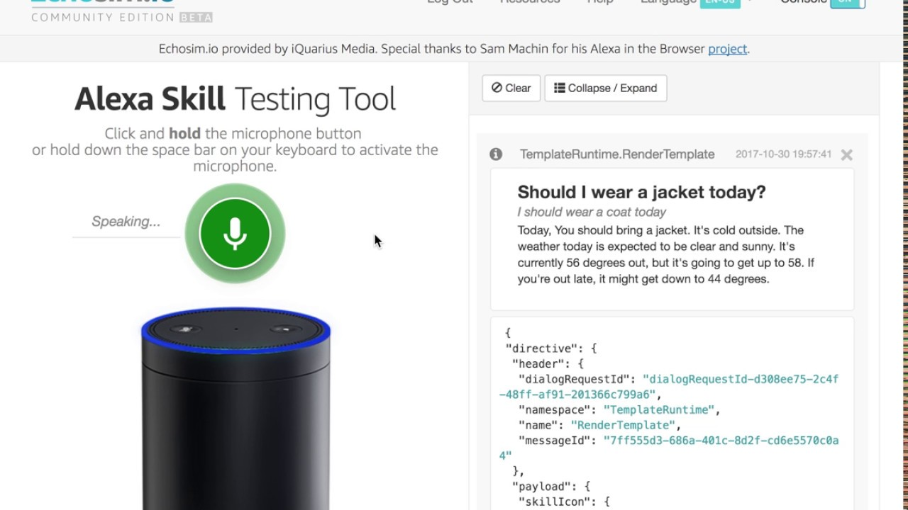"Anita Jacket"": Designing an Alexa Skill to determine if you"