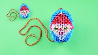 Новогодняя игрушка с Дедом Морозом на елку своими руками. Модульное оригами для начинающих
