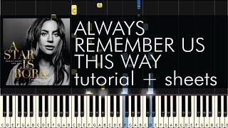 Baixar A Star Is Born - Always Remember Us This Way - Piano Tutorial + Sheets