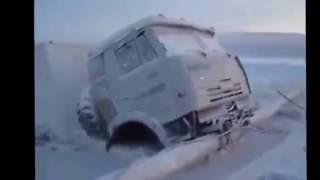 Экстрим Камаз утонул зимник замерзли