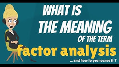 What is FACTOR ANALYSIS? What does FACTOR ANALYSIS mean? FACTOR ANALYSIS explanation.