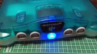 Nintendo 64 Clear Blue Blue Power Light Customize. Japanese Import
